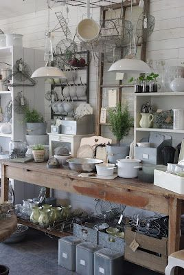 "Pinboard ""Retail Displays"" by Erin - Salvaged Whimsy has many wonder retail displays for inspiration in both home and retail settings.  Shown - industrial style goodies, lots of metal containers, hanging lamps, wood boxes, white ceramics, lovely"