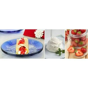 Mascarpone & Ricotta Crêpes with Macerated Strawberries with Terra del Capo Pinot Grigio 2013