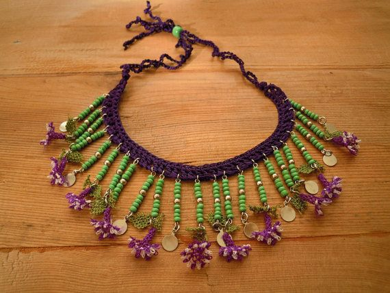 green necklace with purple oya flowers crochet and by PashaBodrum, $28.00
