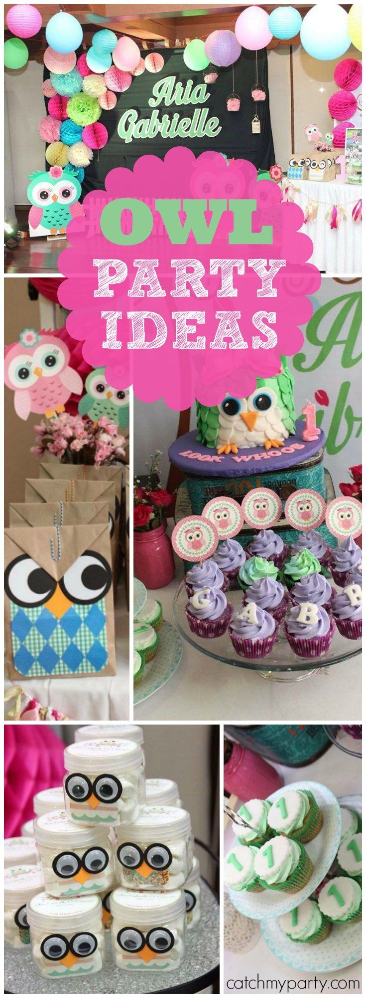 So many cute ideas at this owl themed girl birthday party! See more party ideas at Catchmyparty.com!