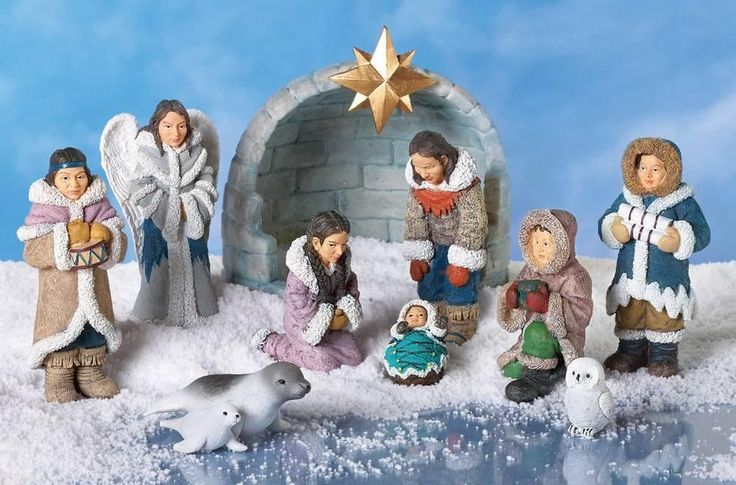Unique Christmas Eskimo Native Nativity Scene Display