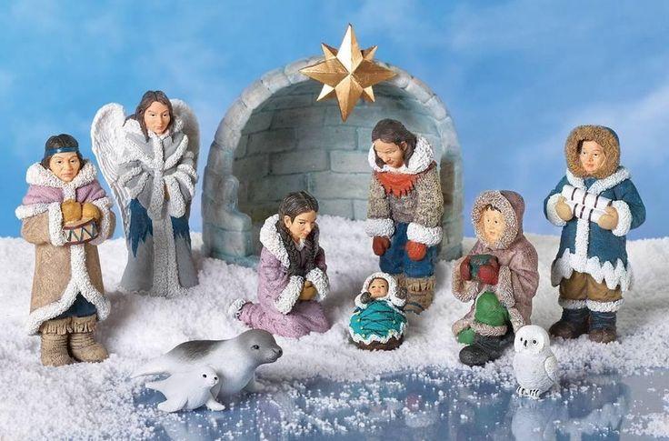 Unique Christmas Eskimo Native Nativity Scene Display