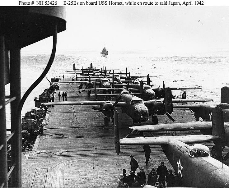 planes lined up on carrier Hornet CV8 for the Doolittle raid