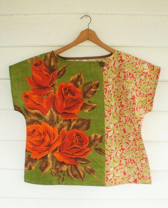 Upcycled Tea Towel Patchwork Women Top Shirt Linen by apieceofpie,