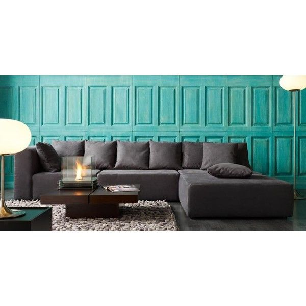 Living Room grey sofa turquoise walls background found on Polyvore