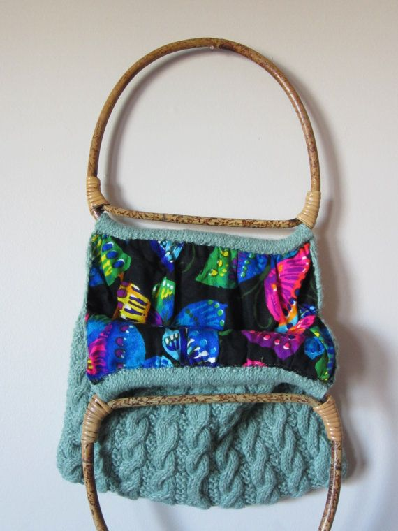 SALE  Sea Foam Green Knitted Purse with by FancyVintageFinds, $12.00