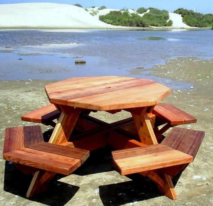 Octagon picnic table plans with umbrella hole for Octagon picnic table blueprints