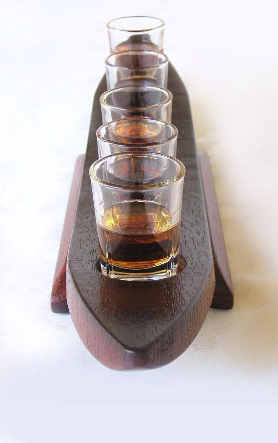 Liquorish, recycled oak wine barrel stave shot glass sampler, 5 shot glasses