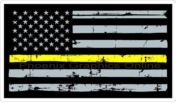 Thin Gold Line Thin Yellow Line Dispatcher Flag by PhoenixGraphics