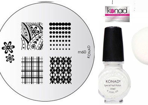 Konad Nail Art Manicure Stamping Kit Image Plate M60 Argyle Pattern 1x Special Nail Polish 11ml White  1xaviva Nail Buffer Bundle 3 Items ** Details can be found by clicking on the image. This Amazon pins is an affiliate link to Amazon.