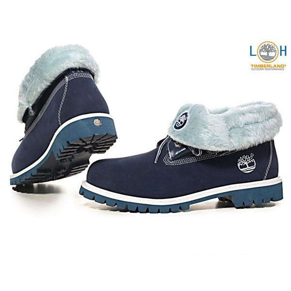 Waterproof Timberland shoe-boots with roll-down cuff.