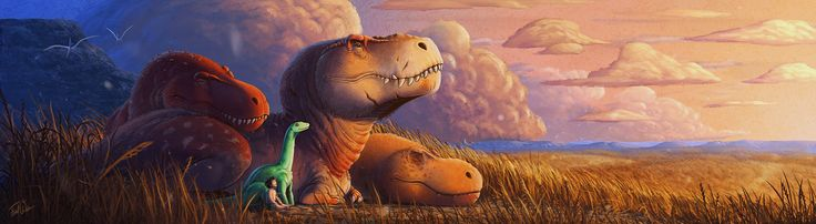 """The Good Dinosaur"" fanart by FredtheDinosaurman. I think I like this art style better than the actual movie!"