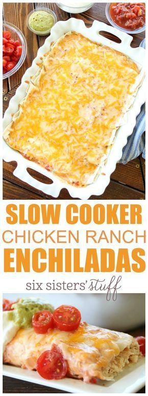 slow cooker chicken ranch enchiladas.
