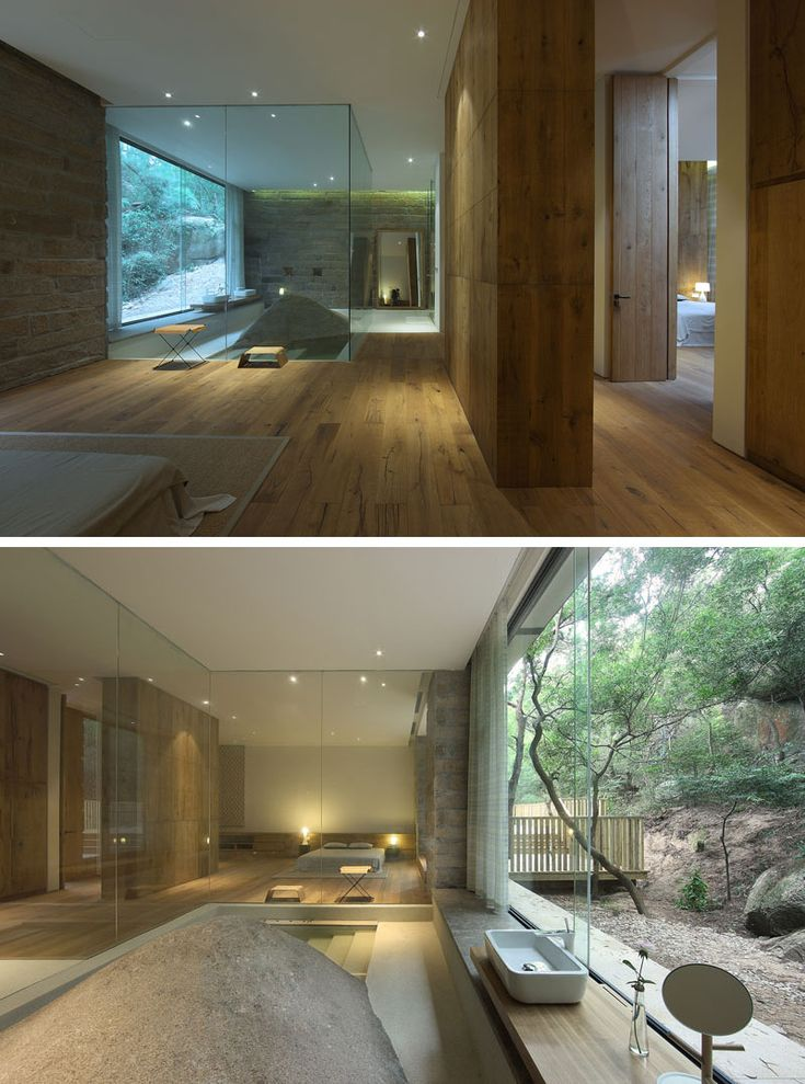 This master bath was built around a naturally occurring boulder.