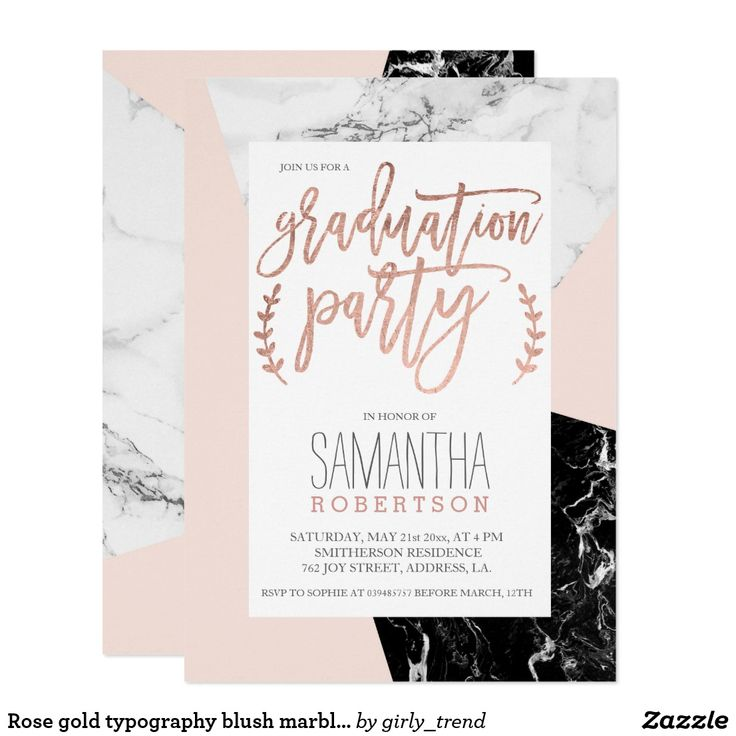 zazzle wedding invitations promo code%0A Rose gold typography blush marble graduation party card