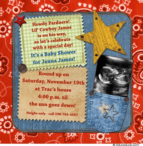 Image Detail For  Country Western Cowboy Shower Invitation   Baby Bridal  Engagement .