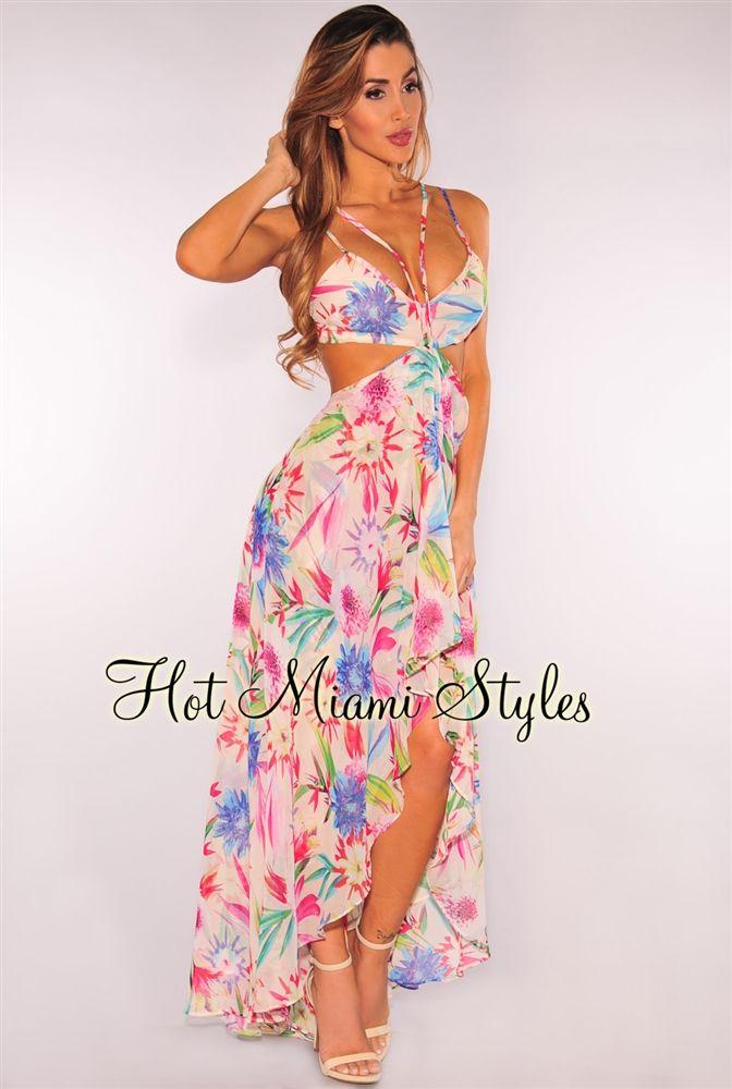 cream floral tropical print flowy maxi dress future