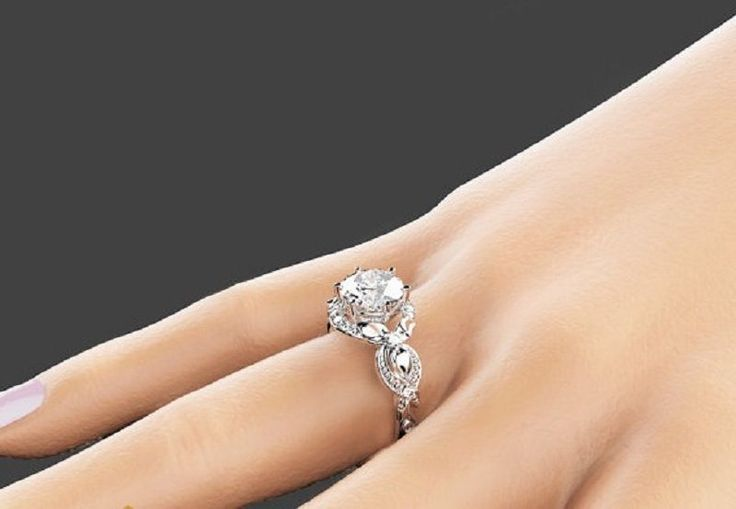 VVS Solitaire 14K Women White Gold Round Cut 2.20 Ct Diamond Wedding Ring #GoldJewellery17 #SolitairewithAccents