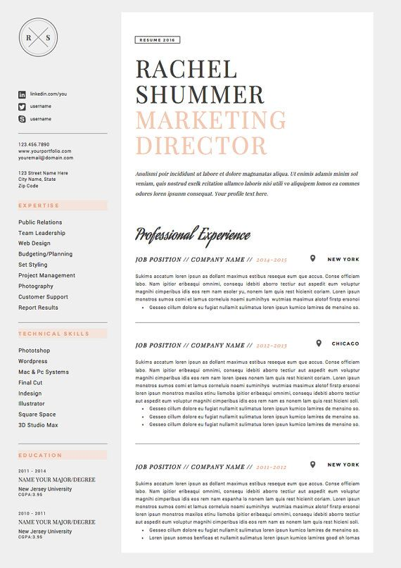 Resume Template 4 Pages Cv Template Cover Letter For Ms Etsy Exemple Cv Idee Cv Modele Cv