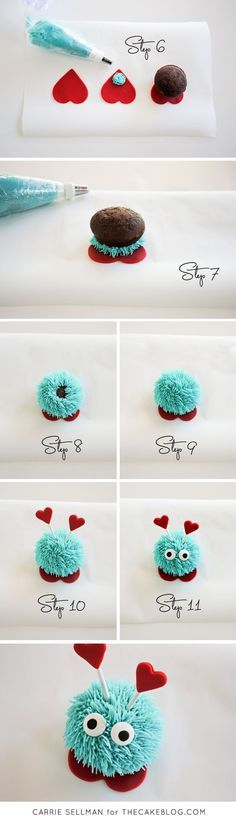 DIY Love Bug Cupcakes for Valentine's Day | Step by Step Tutorial | by Carrie Sellman for http://TheCakeBlog.com