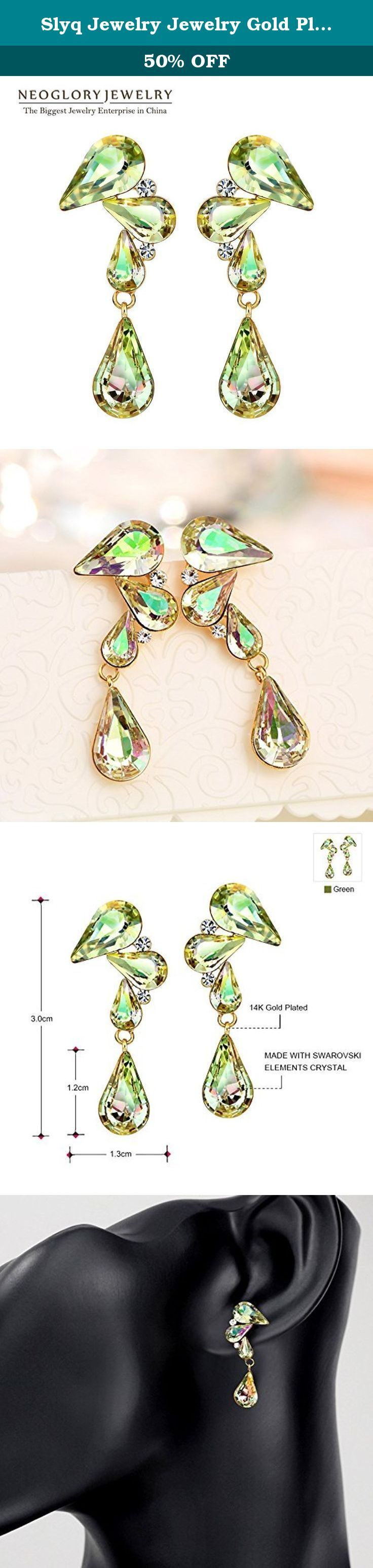 Slyq Jewelry Jewelry Gold Plated Green Austria Crystal Rhinestone Dangle Earring New Brand s. Slyq Jewelry Austria Crystal Wedding pendientes mujer silver Plated zircon Crystal Stud Earring Jewelry.