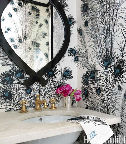 Florence Broadhurst Peacock Feathers wallcovering  - Christina Murphy Colorful Interiors - House Beautiful