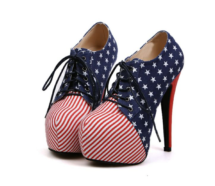 Sexy Stars and Stripes Platform High Heel Shoes. These can be a lot of fun!