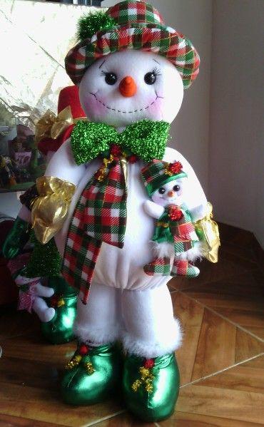 Hombre de nieve Navidad Confeccionado en telas.