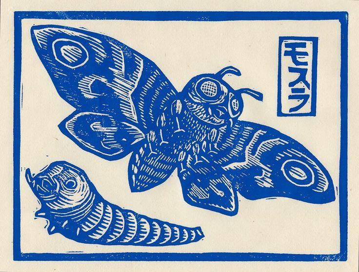 Mothra linocut