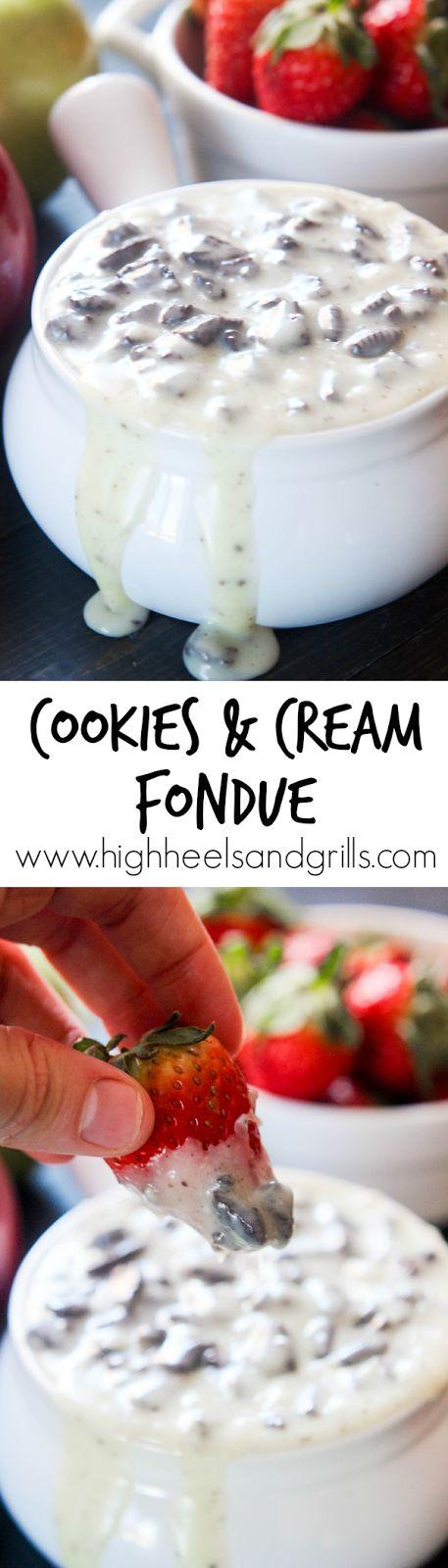 Cookies and Cream Fondue. I'm definitely taking this to my next dessert night! http://www.highheelsandgrills.com/2015/03/cookies-and-cream-fondue.html