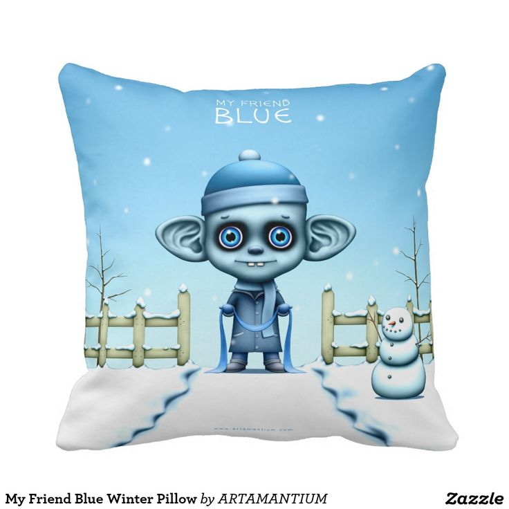 My Friend Blue Winter Pillow