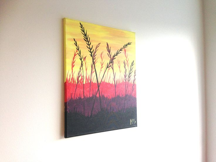 "Field of Wheat Painting. This painting is inspired by a painting that I taught in a painting class. The painting is done in acrylic paint on 16"" x 20"" canvas and is ready to hang right on your wall or be given as a gift. This landscape shows a field with wheat, the calming colors will look beautiful in any room. This makes a wonderful gift for anyone and any occasion. You can give as a housewarming present, or an engagement present for a special couple. Paintings make a unique and…"