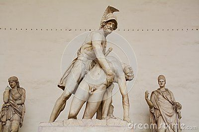 Warriors in white marble, in Piazza della Signoria, in Florence, Italy, Europe