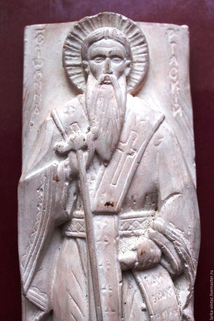Купить Образ Святого старца гипсовый балерьеф - белый, святой старец, святой образ