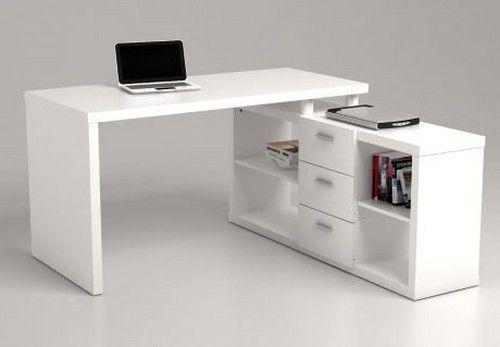 Легкий и современный письменный стол белого цвета.