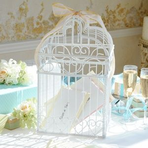 White Metal Birdcage Card Holder from Wedding Favors Unlimited