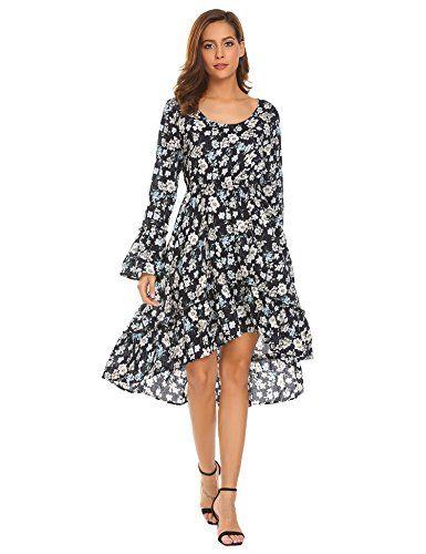 Beyove Damen Elegant Vintage Kleid Lang Halb Arm Revers ...