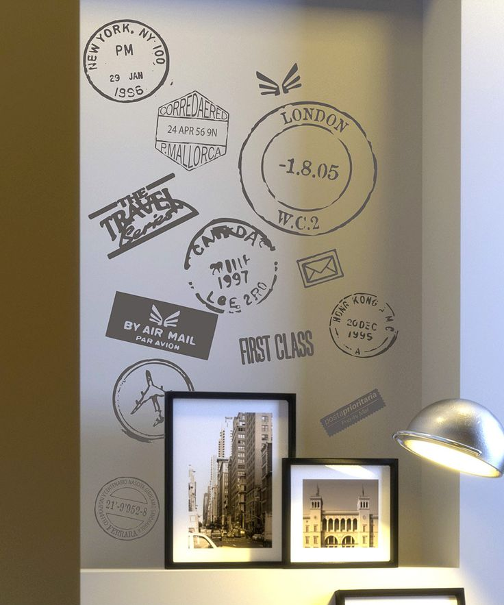 Travel stamp vinyl wall decals, for my travel room. would look great on poster board in a frame.