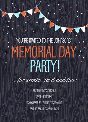 Festive Bunting Memorial Day Invite Memorial Day Party Invitation