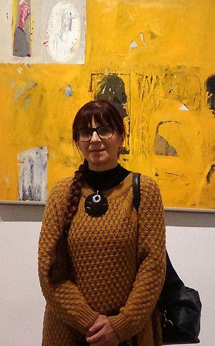 """""""Rozmowa"""" Janusz Karbowniczek , 40 lat twórczości artystycznej. BWA Bielsko-Biała, na wystawie, Beata Wąsowska"""