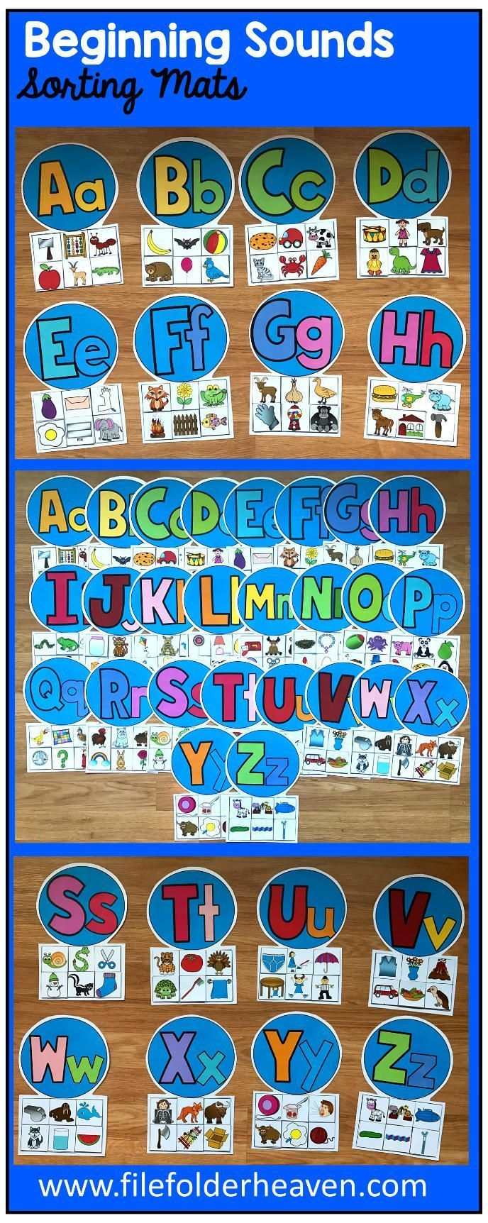 """These Beginning Sounds Sorting Mats include 26 unique sorting mats, one for each letter of the alphabet.   In these activities, students sort pictures by beginning sound. For example in the """"A"""" mat, students sort an ant, apple, abacus, anteater, alligator and ax into the mat."""