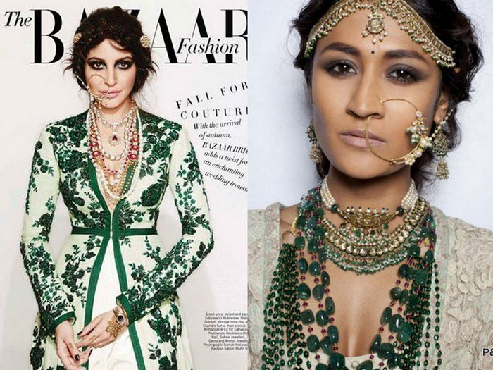 Latest issue of Harpers Bazaar bride features Anushka Sharma wearing Sabyasachi Couture 2014 with layered of pearls, gold and rubies as a contrast. Infact Sabyasachi couture 2013, on the right saw tons of layering as well!
