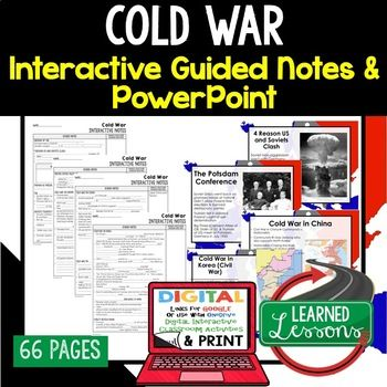 Cold War Notes & PowerPoints, US History, Print, Digital