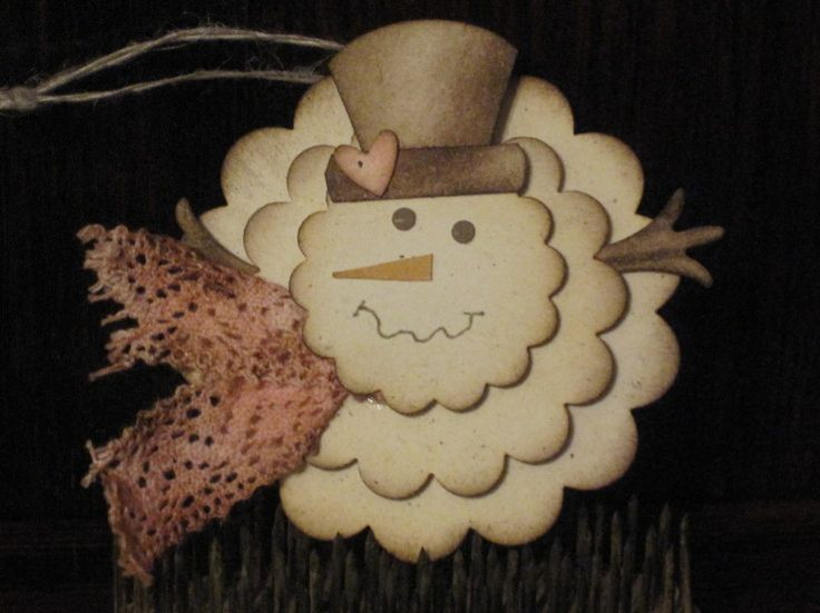 would look nice on a card, Vintage Snowman Tag - Stampin' Connection
