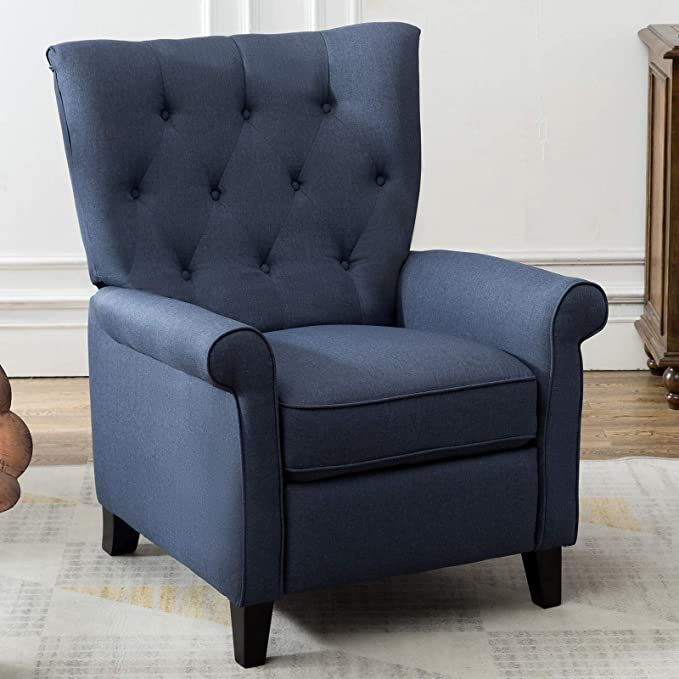 Amazon Com Iomor Recliner Elizabeth Accent Chair For Living Room Easy To Push Mech In 2020 Accent Chairs For Living Room Living Room Chairs Blue Furniture Living Room
