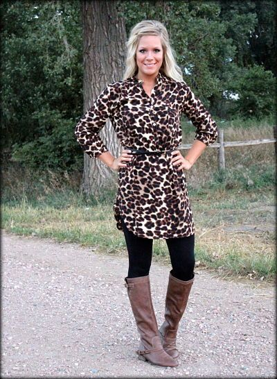 Love this outfit! Cheetah Print Tunic Dress with leggings and Belt: