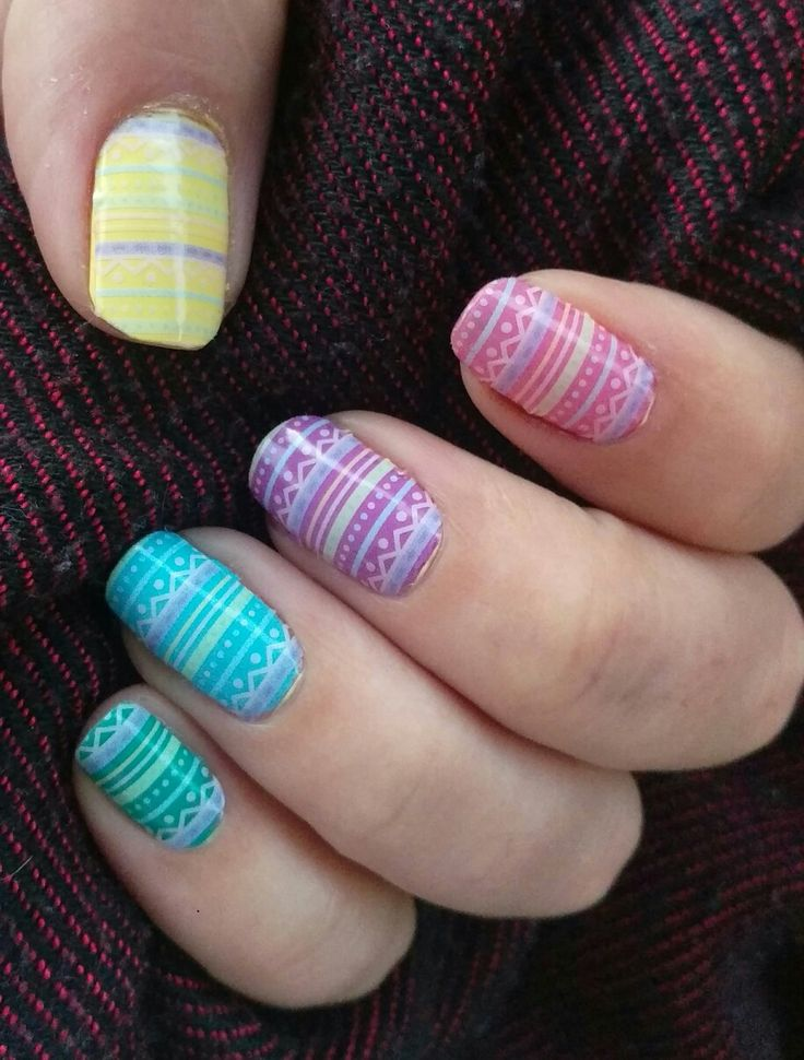 'Paint me pastel' wrap (retired)  layered over Jamberry lacquers