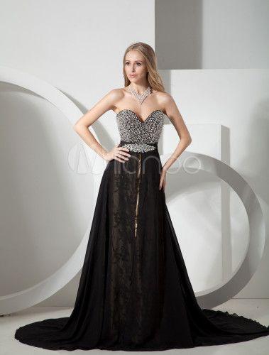 Vestido de noche negro de gasa sin tirantes y con escote de corazón de línea A de cola capilla - Milanoo.com