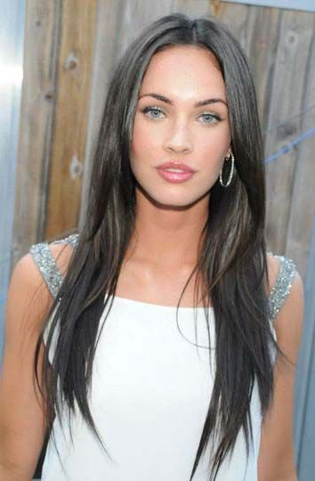 megan fox hair. long. dark. layers. straight.