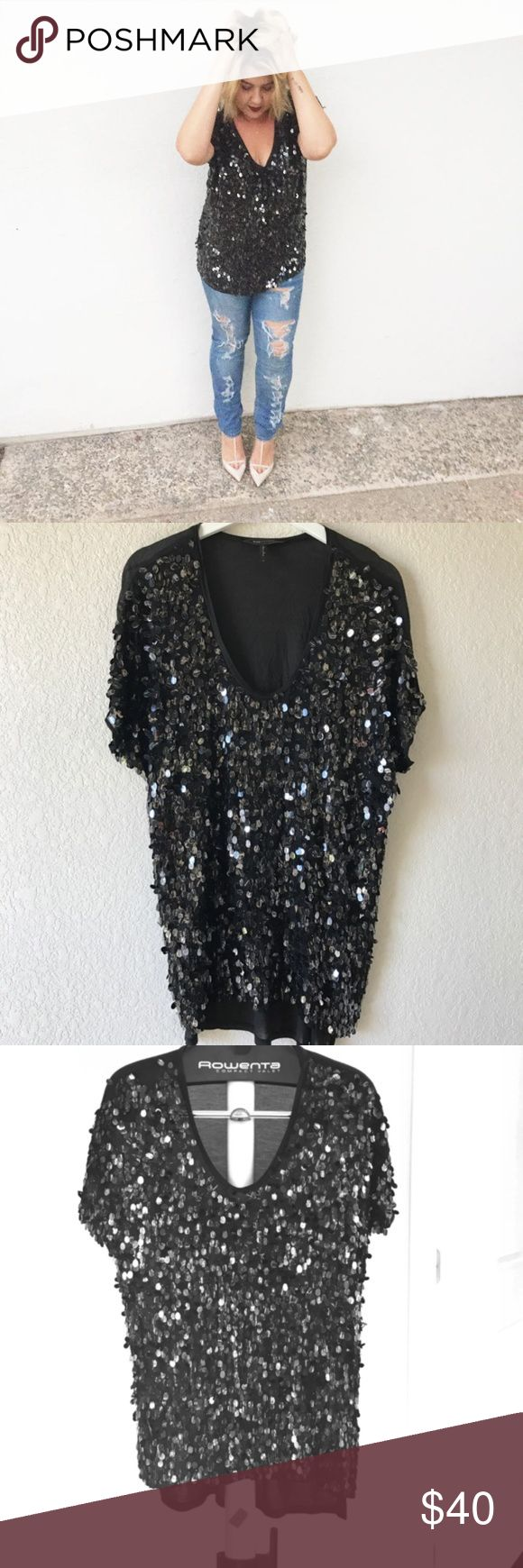 Black BCBGMaxAzria Paillette/Sequin Tunic Top Black BCBGMaxAzria Paillette/Sequin Tunic Top Size Large Perfect for a night out or holiday party.  The entire back is slightly sheer and it fits like a long loose top, great over leggings! SMOKE FREE HOME     SHIPS SAME DAY BCBGMaxAzria Tops